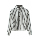 Lapel Button Down Long Sleeve Stripes Shirt