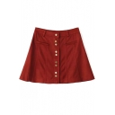Button Fly Plain A-Line Mini Skirt