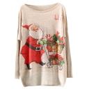 Christmas Santa Claus Print Scoop Neck Long Sleeve Sweater