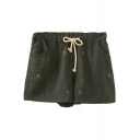 Drawstring Waist Embroidery Tweed Loose Shorts