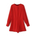 Button Round Neck Long Sleeve Plain Romper