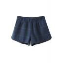 Elastic Waist Plaid Loose Tweed Shorts