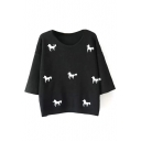 Round Neck Little Horses Print 3/4 Length Sleeve Sweater