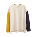 Color Block Patchwork Long Sleeve Sweatshirt