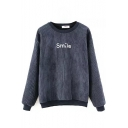 Letter Embroidery Long Sleeve Velvet Plus Sweatshirt