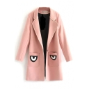 Notched Lapel Long Sleeve Eyes Patchwork Tweed Coat