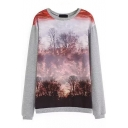 Forest Print Long Sleeve Round Neck Sweashirt