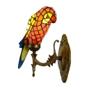 Standing Parrot Design 8.5/13.5 Inch Wall Sconce in Tiffany Style for Entry