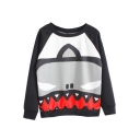 Black Raglan Long Sleeve Graffiti Print Sweatshirt