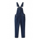 Overall Long Plain Skinny Zip Side Jeans
