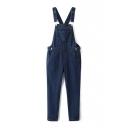 Overall Long Plain Skinny Zip Side Jeans