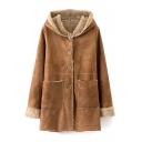 Hooded Single Breasted Long Sleeve Plain Coat