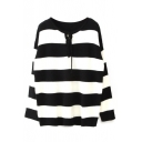 Round Neck Drawstring Front Stripes Long Sleeve Sweater