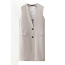 V-Neck Sleeveless Single Breasted Long Vest