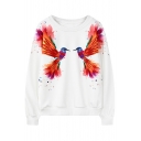 Round Neck Bird Print Long Sleeve Sweatshirt