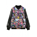 Stand Up Neck Long Sleeve Print Button Down Jacket