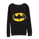Mouth Print Round Neck Long Sleeve Sweatshirt