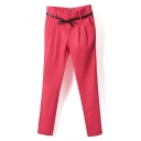 Zipper Fly Cigarette Plain High Waist Pants