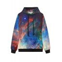 Galaxy Print Long Sleeve Hooded Sweatshirt