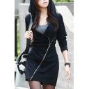 Black Zipper Long Sleeve Hooded Long Sweatshirt