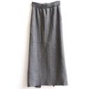 Elastic Waist Zipper Detail Split Hem Plain Skirt