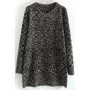 Round Neck Dark Plaid Loose Long Sweater