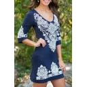 V-Neck Tribal Print 3/4 Length Sleeve Bodycon Stretch Dress