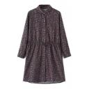 Lapel Button Down Long Sleeve Floral Print Dress