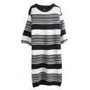 Round Neck Long Sleeve Stripes Knit Dress