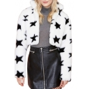 Lapel Fur Star Print Long Sleeve Coat
