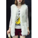 Faux Fur White Long Open Front Vest