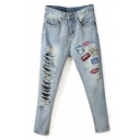 High Waist Patchwork Ripped Cigarette Jeans
