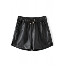 Drawstring Waist Curved Hem Plain PU Shorts