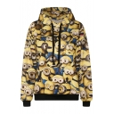 Cartoon Print Long Sleeve Hooded Sweatshirt