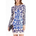 Gilded Print Long Sleeve Bodycon Mini Dress