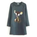 Deer Sequined Raglan Long Sleeve Midi Dress