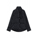 Single Breasted Polka Dot Black Long Padded Coat with Scarf