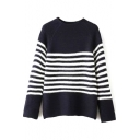 Round Neck Raglan Sleeve Stripe Trims Sweater