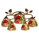 Wonderful Red Rose Country Style Tiffany Lighting with Five Lights
