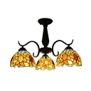 Three/Six-light Black Finished Sunflower Motif Tiffany Chandelier