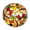 Country Style 12/16 Inch Wide Tiffany Flush Mount Ceiling Light with Grape Fruit Pattern