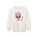 White Long Sleeve Alien Queen Print Sweatshirt