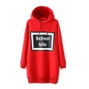 Letter Print Long Sleeve Hooded Long Sweatshirt