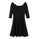 Scoop Neck Half Sleeve Black A-Line Dress
