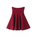 Elastic Waist A-Line Plain Mini Skirt