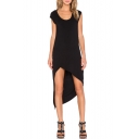 Scoop Neck Cap Sleeve Asymmetrical Black Dress