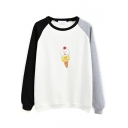 Color Block Cartoon Print Long Sleeve Sweatshirt