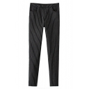 Cigarette Stripes Skinny Black Long Pants