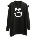 High Neck Long Sleeve Print Tunic Sweatshirt
