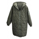 Zipper Long Sleeve Hooded Plain Long Padded Coat